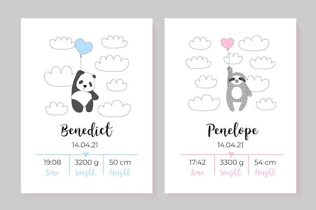 Un ensemble d'affiches pour enfants taille poids date de naissance