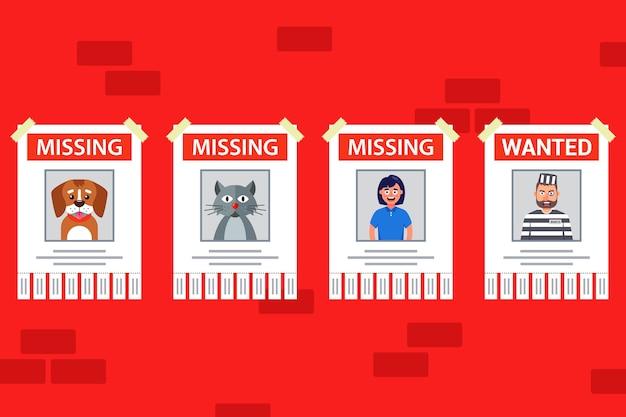Un ensemble d'affiches pour trouver des personnes et des animaux. affiche d'animal perdu. personne recherchée.