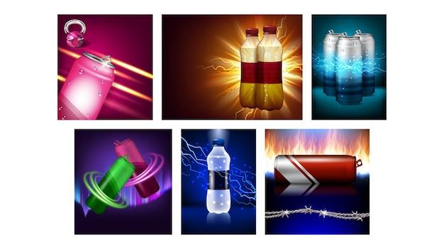 Ensemble d'affiches de promotion créative de boisson énergisante vecteur. conteneur en aluminium vierge de boisson énergisante et bouteille en plastique sur des bannières publicitaires. collection flyers style concept modèle illustrations