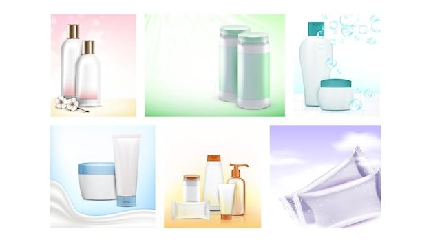 Ensemble d'affiches promotionnelles de cosmétiques pour bébés vector