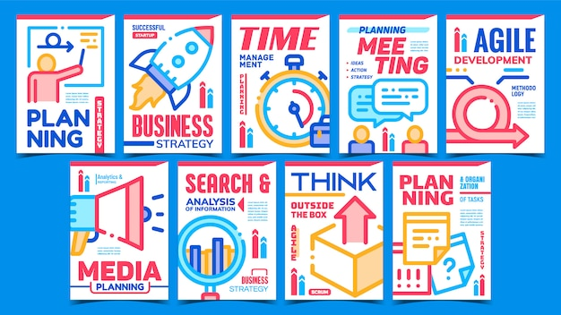 Ensemble d'affiches promotionnelles créatives d'entreprise