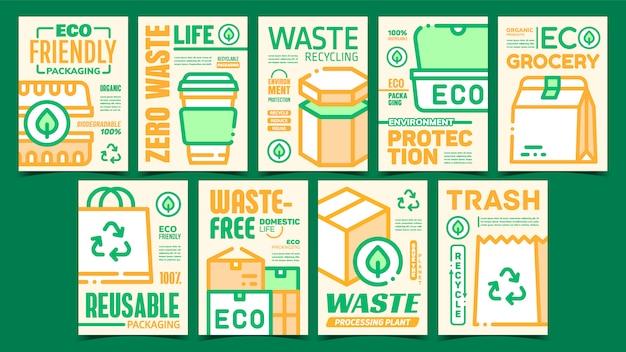 Ensemble d'affiches promotionnelles d'emballage écologique
