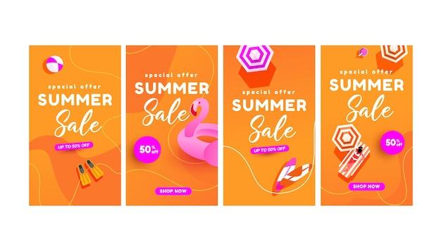 Ensemble d'affiches de réduction pour la saison chaude d'été