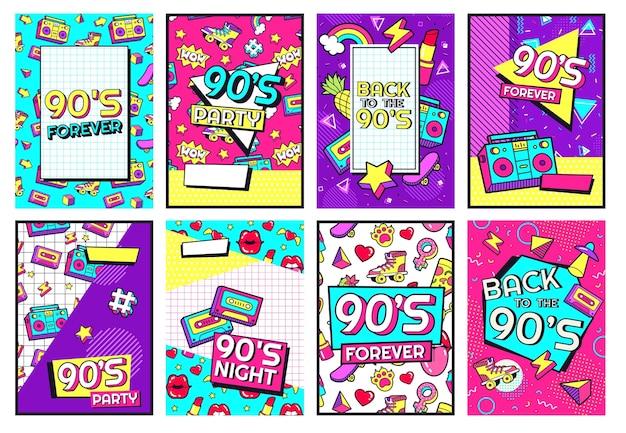 Ensemble d'affiches rétro des années 90