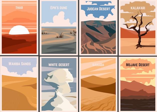 Ensemble d'affiches rétro déserts célèbres du monde.