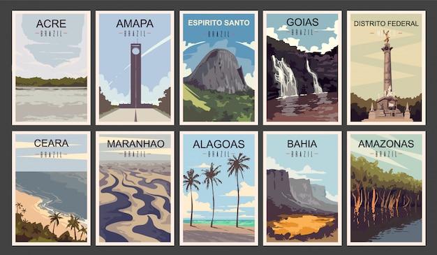 Ensemble d'affiches rétro. illustration des états du brésil.