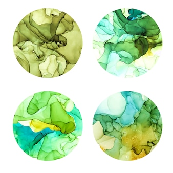 Ensemble d'affiches rondes, fond aquarelle humide, nuances vertes, texture vecteur dessiné à la main