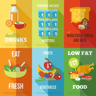 Ensemble d'affiches de saine alimentation