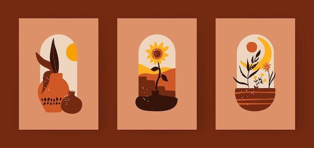 Ensemble d'affiches de style bohème aux couleurs de la terre cuite