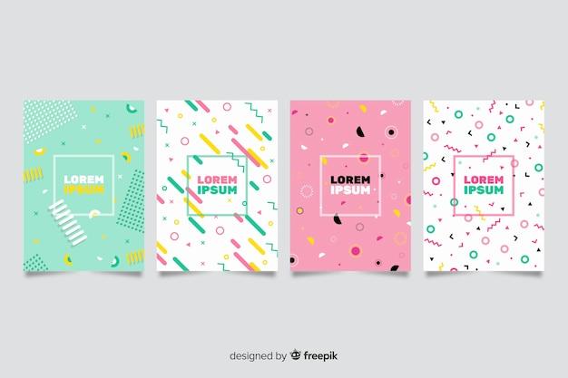 Ensemble d'affiches de style coloré memphis