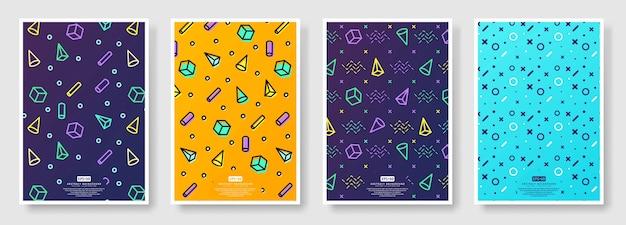 Ensemble d'affiches de style memphis, fond transparent disponible dans le panneau nuancier
