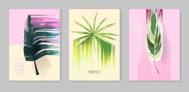 Ensemble d'affiches tropicales futuristes avec effet glitch. arrière-plans tropiques abstraits pour couvertures, brochures, pancartes. illustration vectorielle