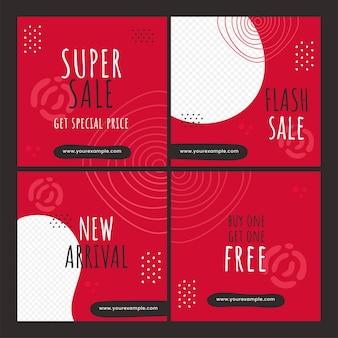 Ensemble d'affiches de vente ou de modèles de conception en couleur rouge et blanche.