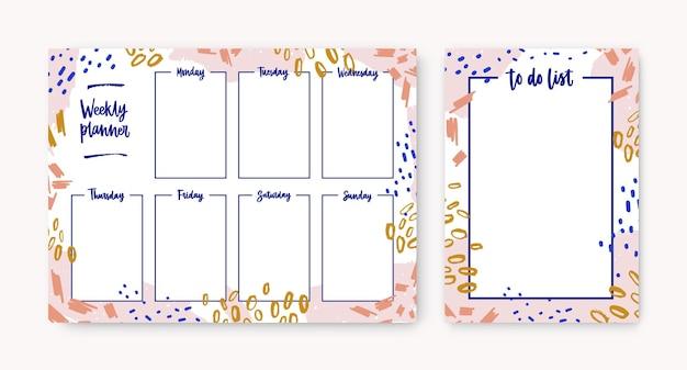 Ensemble d'agendas hebdomadaires personnels et de modèles de listes de tâches avec cadre composé de frottis colorés, de traces de peinture, de gribouillis