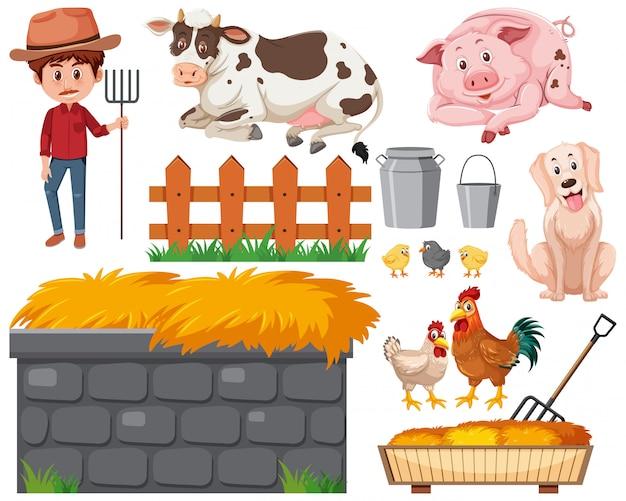 Ensemble d'agriculteur et d'animaux sur fond blanc