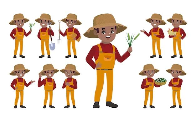 Ensemble d'agriculteur avec des poses différentes