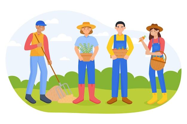 Ensemble d'agriculteur