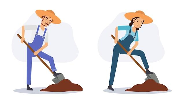 Ensemble d'agriculteurs masculins et féminins creusent le sol à la pelle. illustration vectorielle plane de personnage de dessin animé 2d.