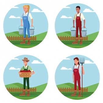 Ensemble d'agriculteurs travaillant dans des dessins animés de ferme