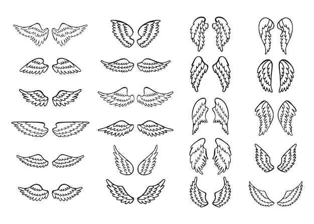 Ensemble d'ailes d'ange dessinées à la main.