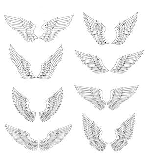 Ensemble d'ailes héraldiques