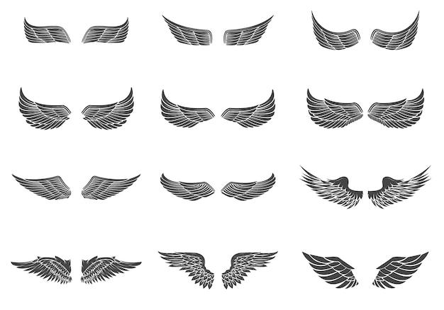 Ensemble d'ailes isolé sur fond blanc. éléments de conception pour logo, étiquette, emblème, signe, marque.