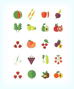 Ensemble d'aliments biologiques végétariens. jeu d'icônes de fruits et légumes.
