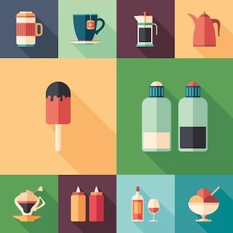 Ensemble d'aliments et de boissons d'icônes plates et carrées avec longues ombres.