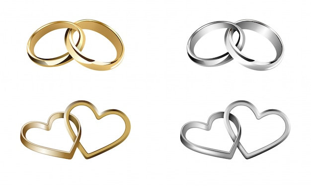 Ensemble d'alliances. anneaux en forme de cœur et de forme ronde
