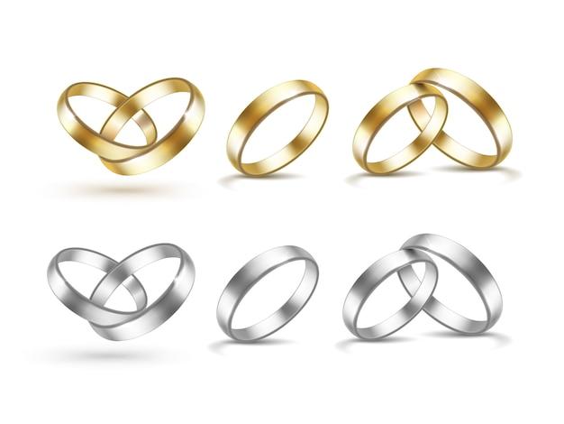 Ensemble d'alliances or et argent isolé sur blanc