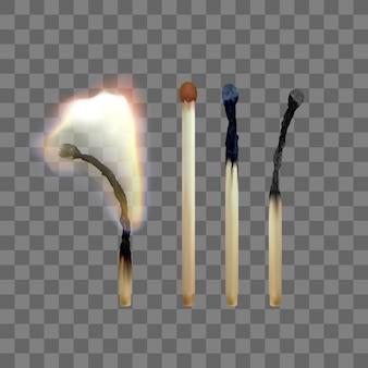 Ensemble d'allumettes en bois sur fond