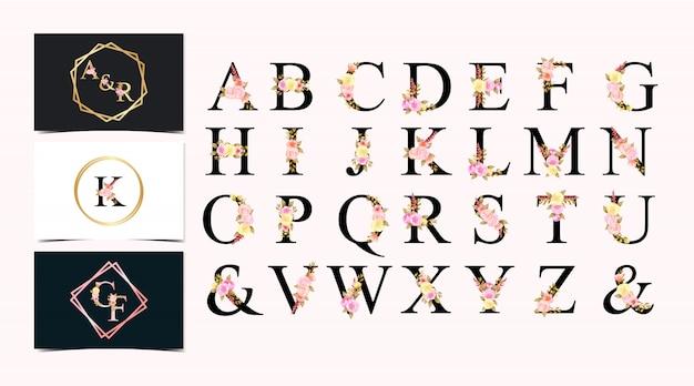 Ensemble d'alphabet individuel floral aquarelle avec fleurs colorées