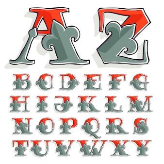 Ensemble alphabet avec lys français et effet d'impression offset