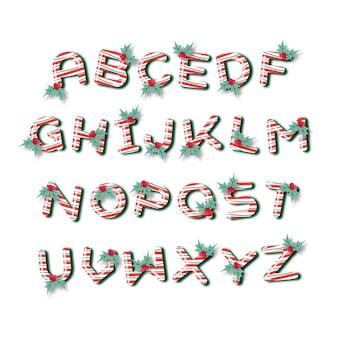 Ensemble d'alphabet de noël de canne à sucre