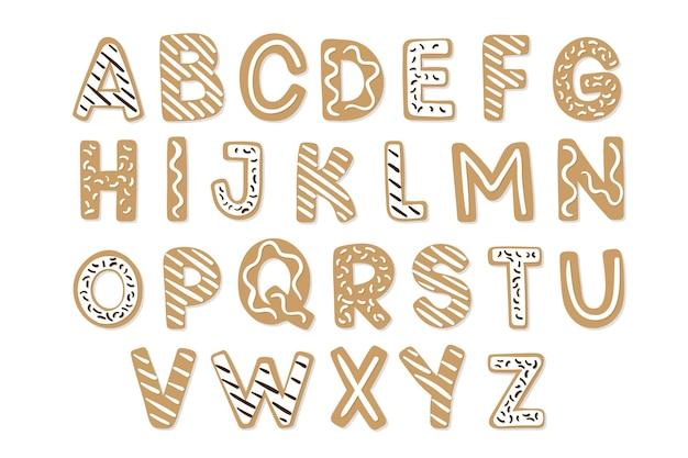 Ensemble d'alphabet de noël en pain d'épice