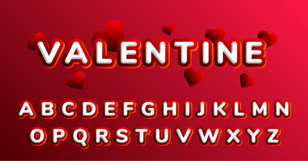 Ensemble d'alphabet de polices de décoration de la saint-valentin