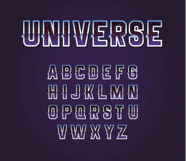 Ensemble d'alphabet de polices de science-fiction rétro des années 80 de l'univers