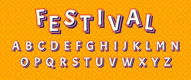 Ensemble d'alphabet de texte de décoration de parade de festival