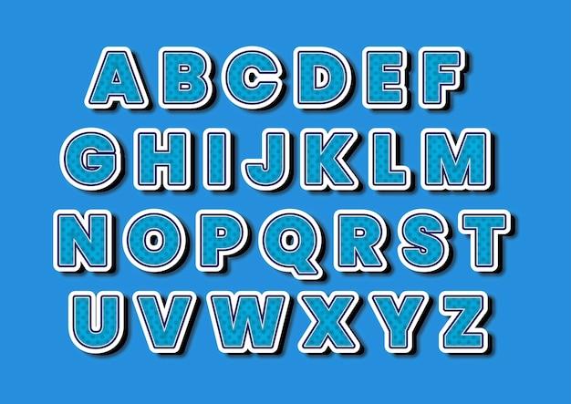 Ensemble d'alphabets bleu à pois créatifs