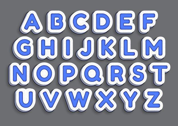 Ensemble d'alphabets blue marmer art effect