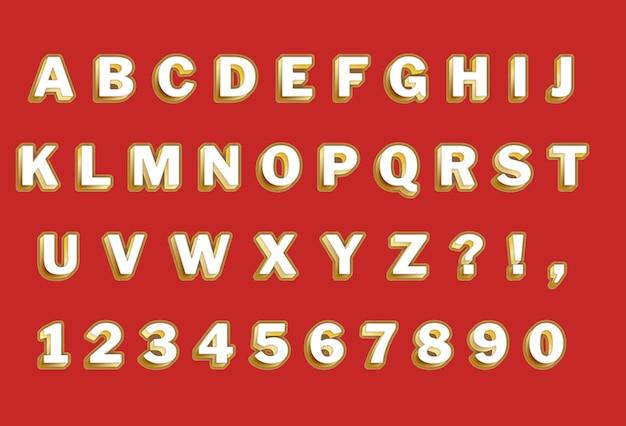 Ensemble d'alphabets et de chiffres 3d en or rouge