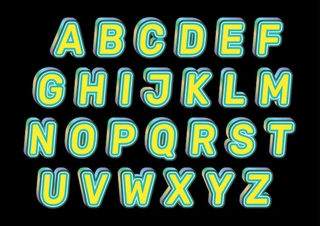 Ensemble d'alphabets de couleurs gaies jaunes amusantes