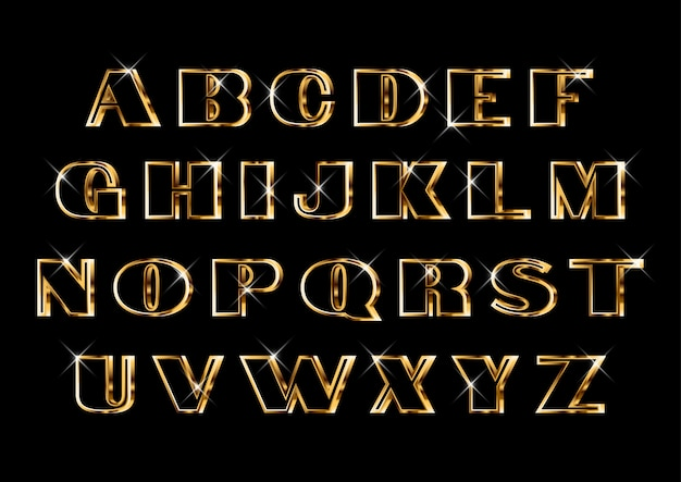 Ensemble d'alphabets dorés classique et élégant