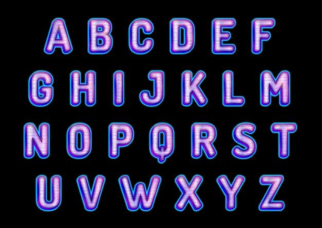 Ensemble d'alphabets lueur futuriste