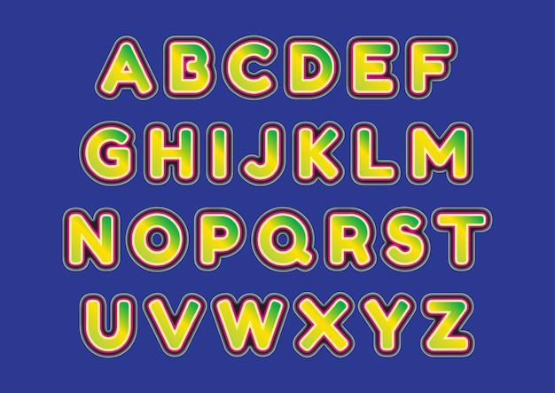 Ensemble d'alphabets en majuscules à la mode 3d