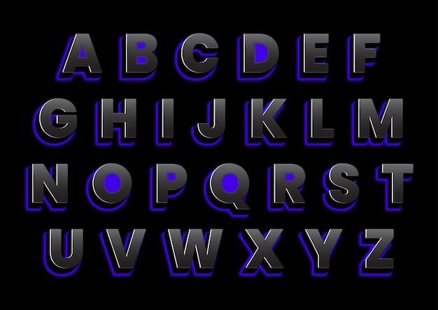 Ensemble d'alphabets rétro-éclairés 3d