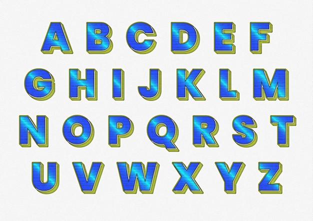 Ensemble d'alphabets de technologie future futuriste