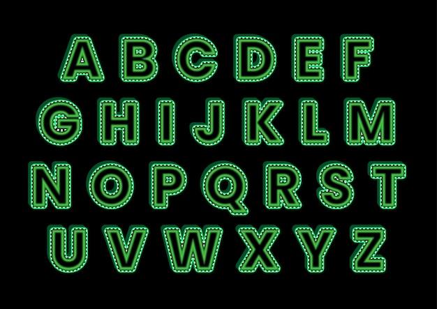 Ensemble d'alphabets typographiques verts 3d