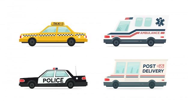 Ensemble d'ambulance de dessin animé, police, livraison et voiture de taxi jaune