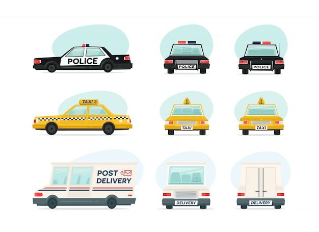 Ensemble d'ambulance de dessin animé, police et voiture de taxi jaune